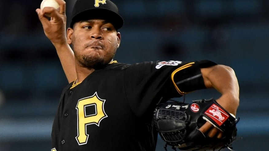 Aug 12, 2016; Los Angeles, CA, USA; Pittsburgh Pirates starting pitcher Ivan Nova (46) in the second inning of the game against the Los Angeles Dodgers at Dodger Stadium. Mandatory Credit: Jayne Kamin-Oncea-USA TODAY Sports