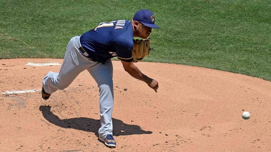 Wednesday, Aug. 3, 2016: Milwaukee Brewers starting pitcher Junior Guerra pitches during the first inning against the San Diego Padres at Petco Park in San Diego. The Brewers lost 12-3.