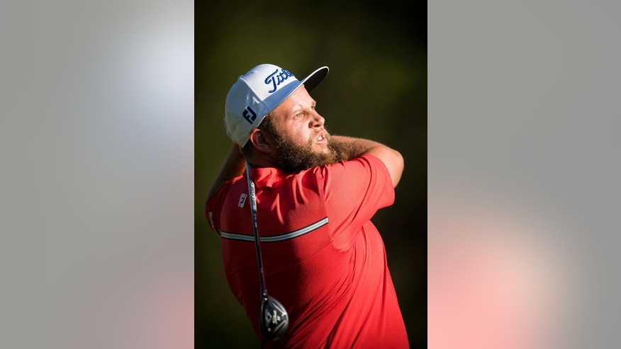 England's Andrew Johnston competes during the second round of the Omega European Masters Golf Tournament in Crans-Montana, Switzerland, Friday, Sept.2, 2016.  (Olivier Maire/Keystone via AP)