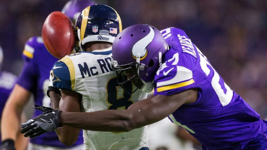 Minnesota Vikings safety Jayron Kearse tackles Los Angeles Rams wide receiver Paul McRoberts for a fumble in the fourth quarter at U.S. Bank Stadium.