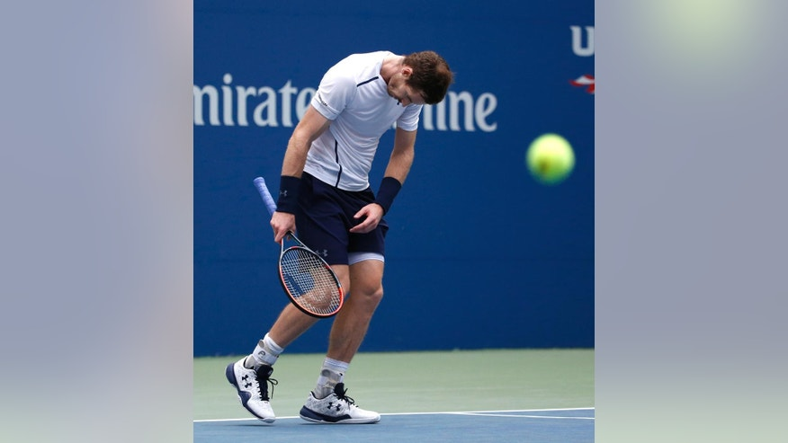 Andy Murray, of the United Kingdom, reacts after a shot from Paolo Lorenzi, of Italy, during the third round of the U.S. Open tennis tournament, Saturday, Sept. 3, 2016, in New York. (AP Photo/Jason DeCrow)