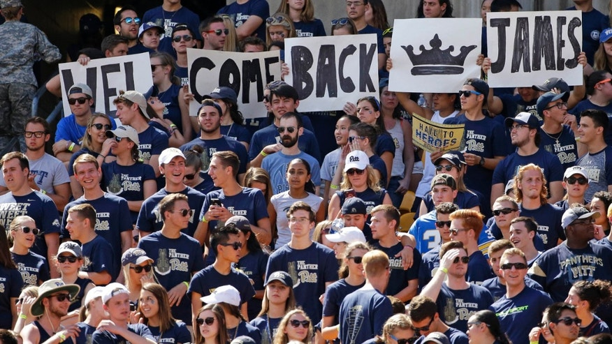 Sept. 3, 2016: Signs in the student section of Heinz Field welcome back Pittsburgh running back James Conner during the first half of an NCAA college football game against Villanova in Pittsburgh.