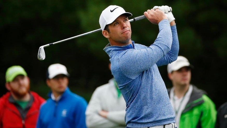 Paul Casey, of England, tees off on the third hole during the final round of the Deutsche Bank Championship golf tournament in Norton, Mass., Monday, Sept. 5, 2016. (AP Photo/Michael Dwyer)