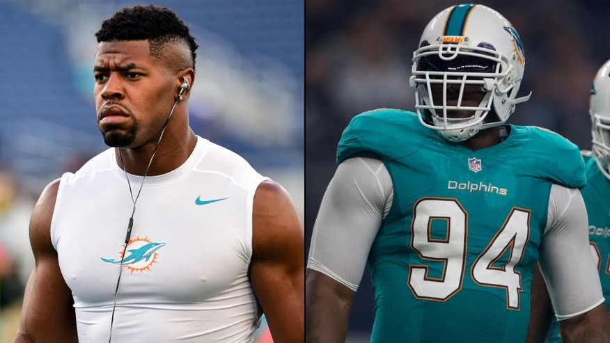 <p>Miami Dolphins defensive ends Cameron Wake (left) and Mario Williams (right).<br> </p>