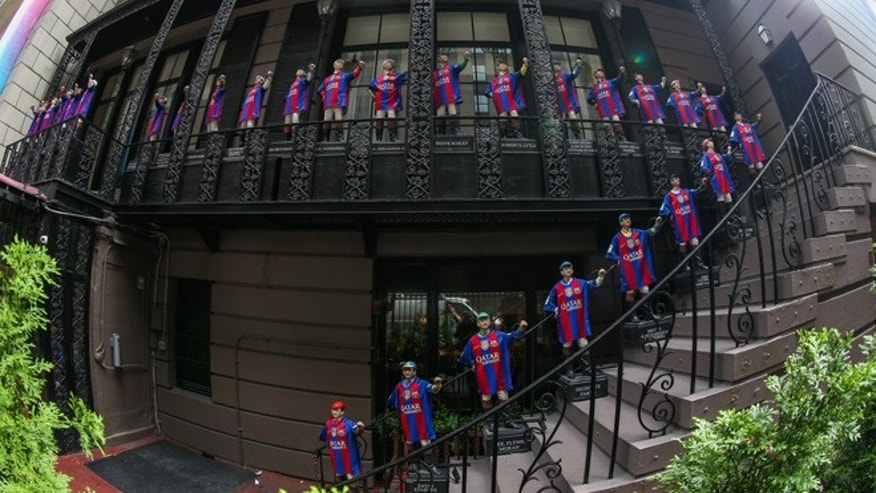 NEW YORK, NY - SEPTEMBER 06: FC Barcelona celebrates the opening of its New York Office, its first office in the United States.  Activities included the dressing of the iconic jockeys at Manhattan's 21 Club on September 6, 2016 in New York City. (Photo by Ed Mulholland/Getty Images)