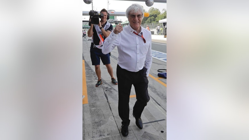Sept. 2, 2016: Formula One CEO Bernie Ecclestone gives the thumbs-up sign during the first practice session for the Italian Grand Prix at Monza racetrack