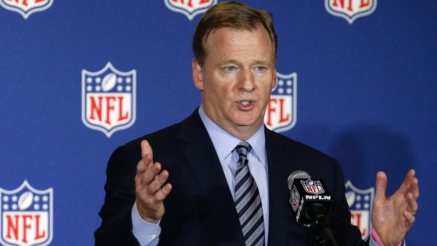 FILE - In this May 24, 2016, file photo, NFL commissioner Roger Goodell answers reporter's questions at an NFL owner's meeting in Charlotte N.C.