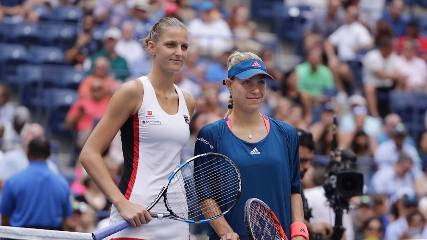 Karolina Pliskova, of the Czech Republic, left, and Angelique Kerber, of Germany, pose for a photo before playing in the women's singles final of the U.S. Open tennis tournament, Saturday, Sept. 10, 2016, in New York. (AP Photo/Darron Cummings)