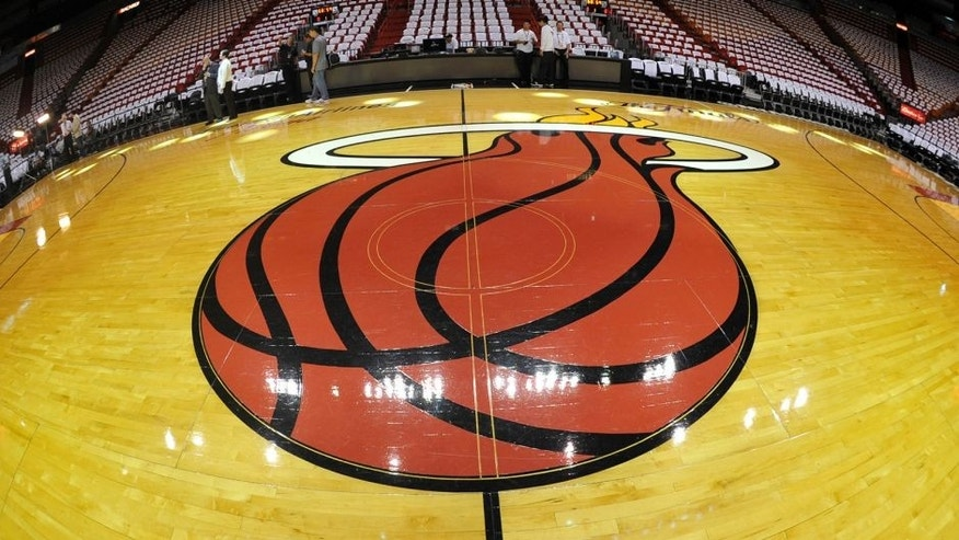 Jun 9, 2013; Miami, FL, USA; General view of the Miami Heat logo on the court during the first quarter of game two of the 2013 NBA Finals against the San Antonio Spurs at the American Airlines Arena. Mandatory Credit: Steve Mitchell-USA TODAY Sports