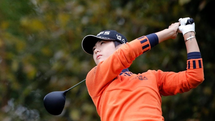 Sung Hyun Park, of South Korea, follows her ball after playing on the 14th hole during the second round of the Evian Championship women's golf tournament in Evian, eastern France, Friday, Sept. 16, 2016. (AP Photo/Laurent Cipriani)