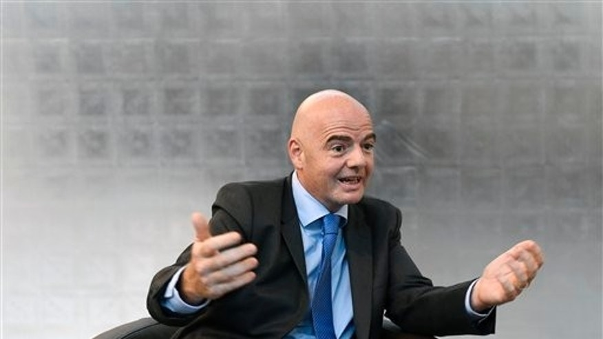 "FIFA President Gianni Infantino speaks during an interview on the occasion of the ""World Summit on Ethics and Leadership in Sports"" at the Home of FIFA in Zurich. Switzerland, Friday, Sept. 16,  2016. (Walter Bieri/Keystone via AP)"
