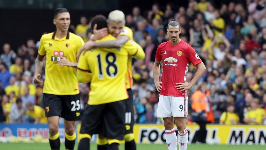 Manchester United's Zlatan Ibrahimovic looks dejected after Watford's third goal during the English Premier League soccer match between Watford and Manchester United at Vicarage Road in London, Sunday Sept. 18, 2016. (AP Photo/Tim Ireland)