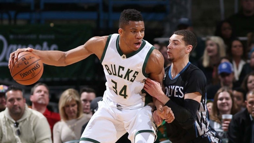 Milwaukee, WI - MARCH 4: Giannis Antetokounmpo #34 of the Milwaukee Bucks handles the ball against the Minnesota Timberwolves on March 4, 2016 at the BMO Harris Bradley Center in Milwaukee, Wisconsin. NOTE TO USER: User expressly acknowledges and agrees that, by downloading and or using this Photograph, user is consenting to the terms and conditions of the Getty Images License Agreement. Mandatory Copyright Notice: Copyright 2016 NBAE (Photo by Gary Dineen/NBAE via Getty Images)