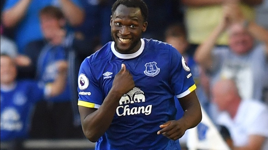 Everton's Romelu Lukaku celebrates scoring his side's third goal of the game during the English Premier League soccer match between Everton and Middlesbrough, at Goodison Park, in Liverpool, England, Saturday Sept. 17, 2016. (Dave Howarth/PA via AP)