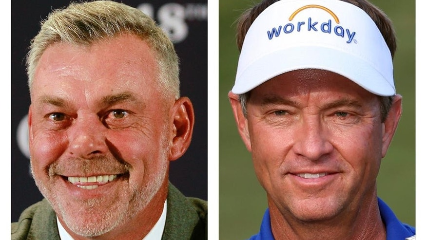 FILE - These file photo show Europe's captain Darren Clarke, left, and  United States captain Davis Love III, for the upcoming Ryder Cup golf matches at Hazeltine National in Chaska, Minn. (AP Photo/File)