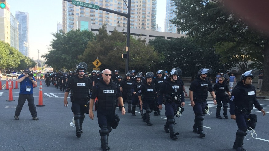 Charlotte police outside Bank of America Stadium.