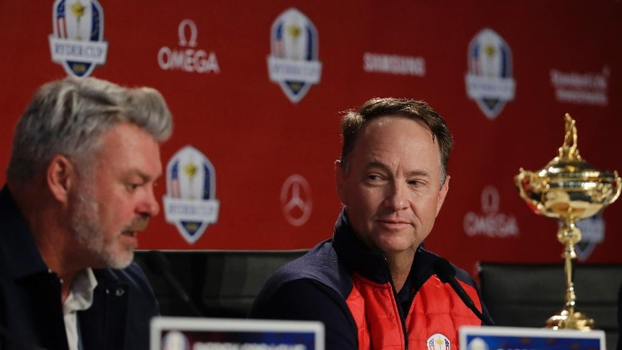 United States captain Davis Love III and Europe captain Darren Clarke participate in a news conference for the Ryder Cup golf tournament Monday, Sept. 26, 2016, at Hazeltine National Golf Club in Chaska, Minn. (AP Photo/David J. Phillip)