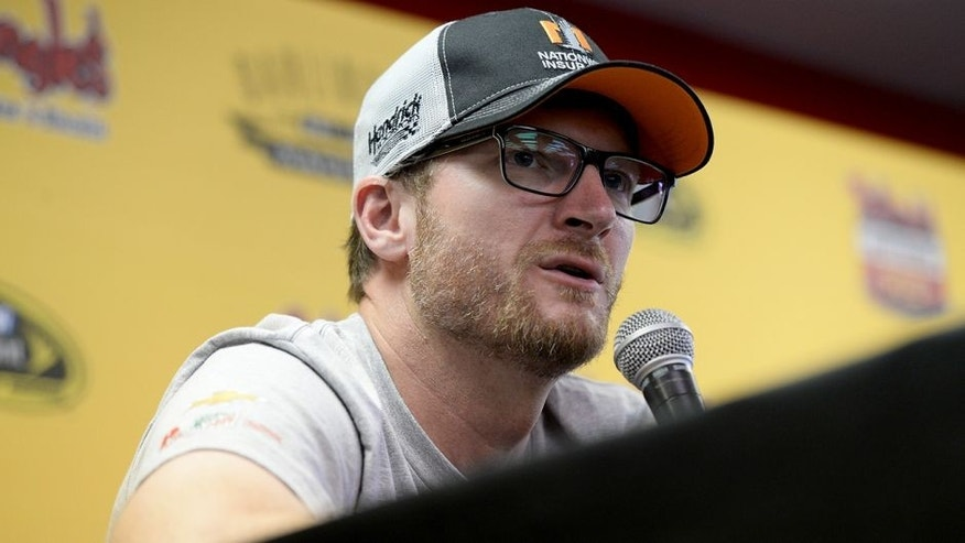 DARLINGTON, SC - SEPTEMBER 04: Dale Earnhardt Jr. speaks to the media during the NASCAR Sprint Cup Series Bojangles' Southern 500 at Darlington Raceway on September 4, 2016 in Darlington, South Carolina. (Photo by Blaine Ohigashi/Getty Images)