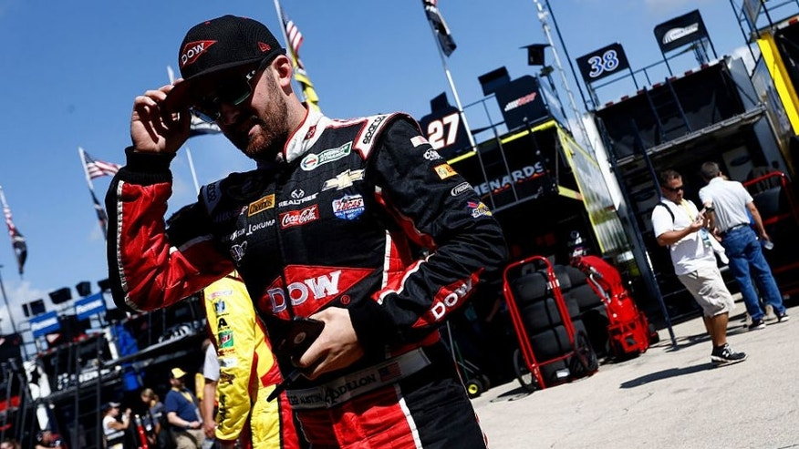 JOLIET, IL - SEPTEMBER 17: Austin Dillon, driver of the #3 Dow - Packaging Chevrolet, walks in the garage area during practice for the NASCAR Sprint Cup Series Teenage Mutant Ninja Turtles 400 at Chicagoland Speedway on September 17, 2016 in Joliet, Illinois. (Photo by Jeff Zelevansky/NASCAR via Getty Images)