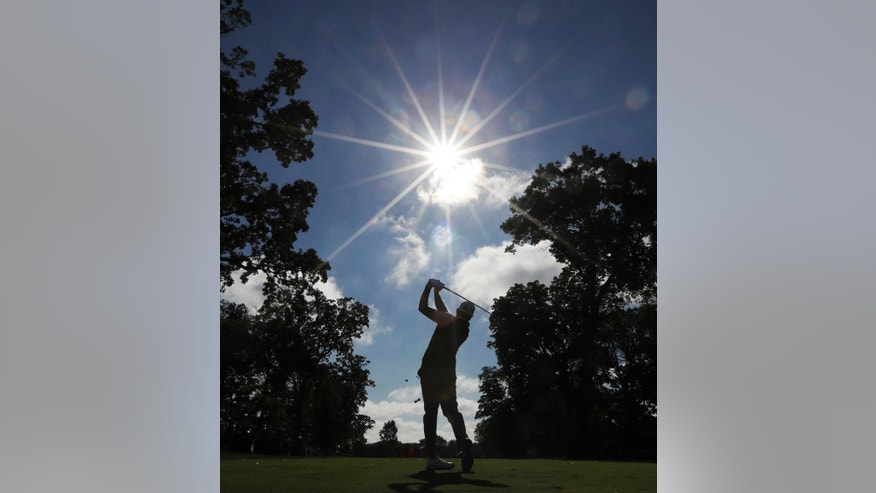 Europe's Sergio Garcia hits a shot on the fourth hole during a practice round for the Ryder Cup golf tournament Thursday, Sept. 29, 2016, at Hazeltine National Golf Club in Chaska, Minn. (AP Photo/David J. Phillip)