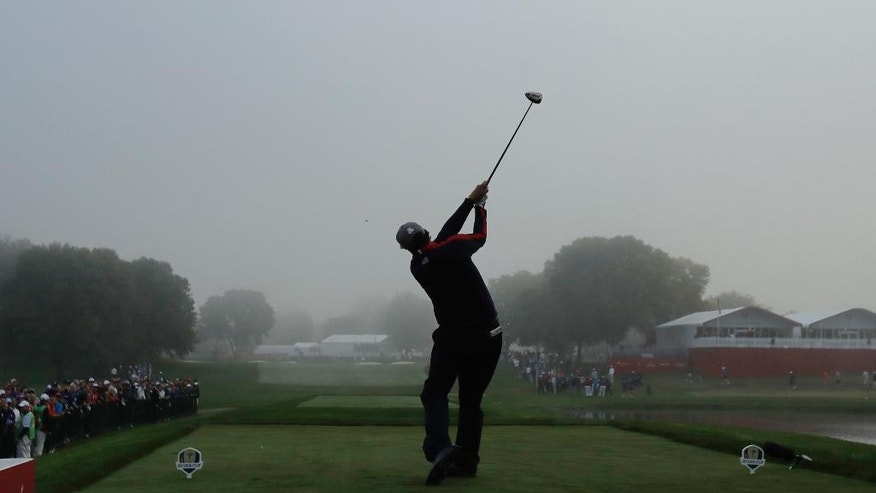 United States' Phil Mickelson hits a shot on the second hole during a foresomes match at the Ryder Cup golf tournament Friday, Sept. 30, 2016, at Hazeltine National Golf Club in Chaska, Minn. (AP Photo/Charlie Riedel)