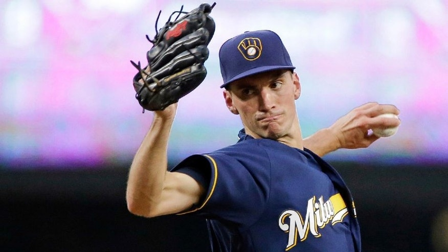 Milwaukee Brewers starting pitcher Brent Suter throws to a Seattle Mariners batter during the fourth inning of a baseball game Friday, Aug. 19, 2016, in Seattle.