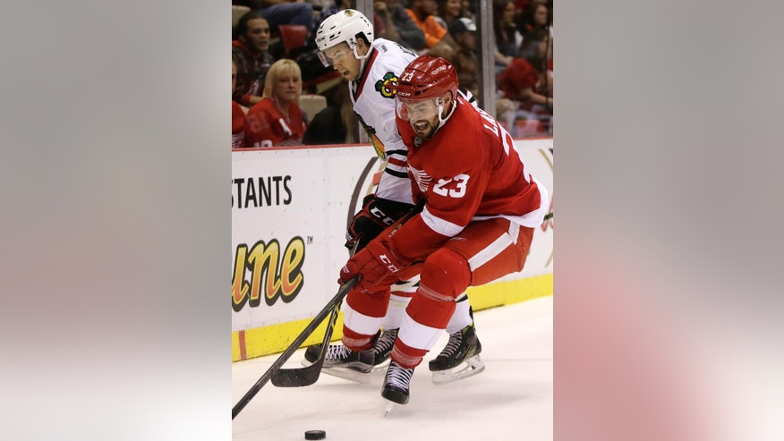 Detroit Red Wings defenseman Brian Lashoff (23) steals the puck from Chicago Blackhawks center Tanner Kero during the third period of an NHL hockey game, Sunday, Oct. 2, 2016, in Detroit. The Red Wings defeated the Blackhawks 6-3. (AP Photo/Duane Burleson)