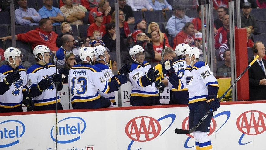 St. Louis Blues right wing Dmitrij Jaskin (23), of Russia, celebrates his goal during the first period of an NHL preseason hockey game against Washington Capitals, Monday, Oct. 3, 2016, in Washington. (AP Photo/Nick Wass)
