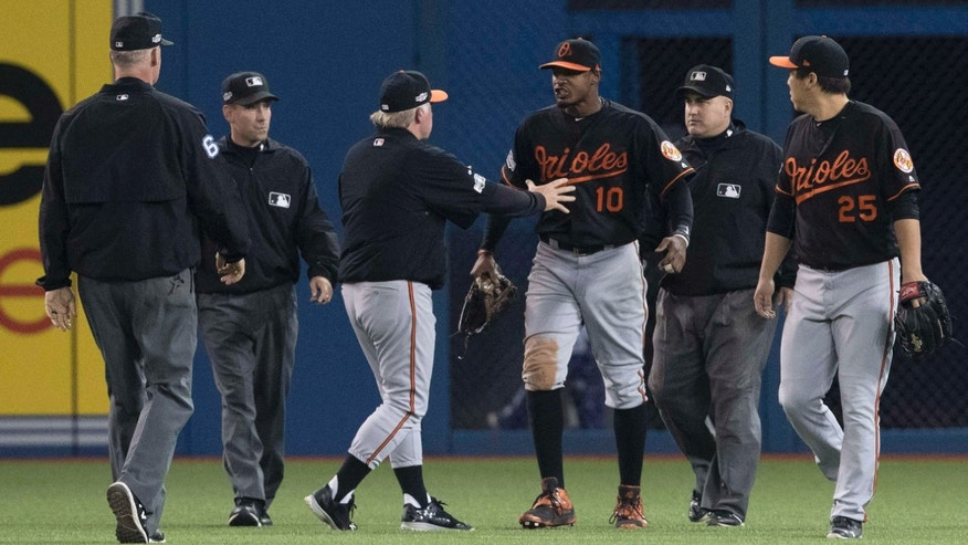 Oct. 4, 2016: Umpires Ted Barrett, from left, David Rackley, Baltimore Orioles manager Buck Showalter, Orioles' Adam Jones, umpire Eric Cooper and Orioles' Hyun Soo Kim talk after a can was thrown onto the field during play following the seventh inning of an American League wild-card baseball game against the Toronto Blue Jays in Toronto.