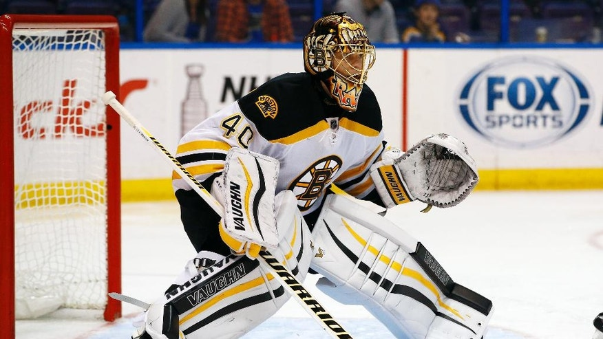 FILE - In this April 1, 2016, file photo, Boston Bruins goalie Tuukka Rask, of Finland, defends the net during an NHL hockey game against the St. Louis Blues, in St. Louis. New, slimmer goalie pants will be in effect for the start of the season with smaller chest protectors on the way soon enough. As the NHL tries to increase scoring because goaltenders are so good, they want a say in the process instead of being considered the villains. (AP Photo/Billy Hurst, File)