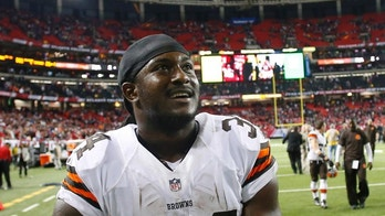 Cleveland Browns running back Isaiah Crowell (34) walks off the field after the Cleveland Browns beat the Atlanta Falcons 26-24 in the second half of an NFL football game, Sunday, Nov. 23, 2014, in Atlanta. (AP Photo/John Bazemore)