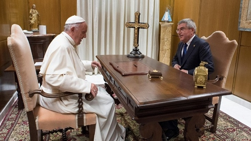 Pope Francis meets Thomas Bach, President of the International Olympic Committee, on Wednesday, Oct. 5, 2016.