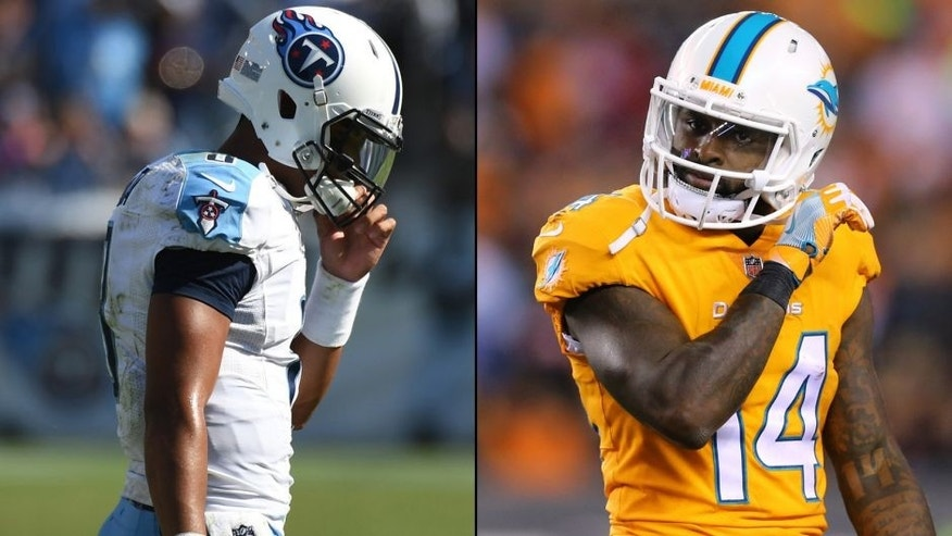 <p>Tennessee Titans quarterback Marcus Mariota (left) and Miami Dolphins wide received Jarvis Landry (right).<br> </p>