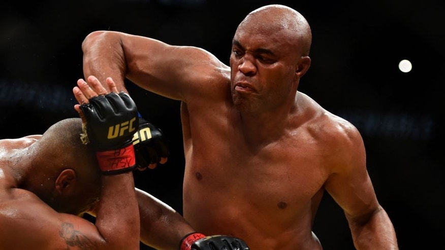 LAS VEGAS, NV - JULY 09: (R-L) Anderson Silva of Brazil elbows Daniel Cormier in their light heavyweight bout during the UFC 200 event on July 9, 2016 at T-Mobile Arena in Las Vegas, Nevada. (Photo by Harry How/Zuffa LLC/Zuffa LLC via Getty Images)