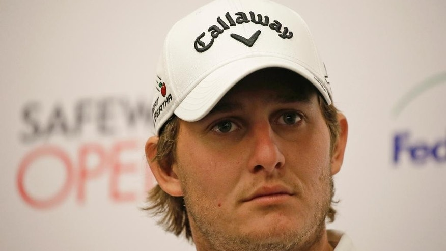 Emiliano Grillo, of Argentina, listens during a news conference at the Silverado Resort after the pro-am event of the Safeway Open PGA golf tournament Wednesday, Oct. 12, 2016, in Napa, Calif. Grillo is the defending champion of the tournament and was also named the tour's Rookie of the Year. (AP Photo/Eric Risberg)
