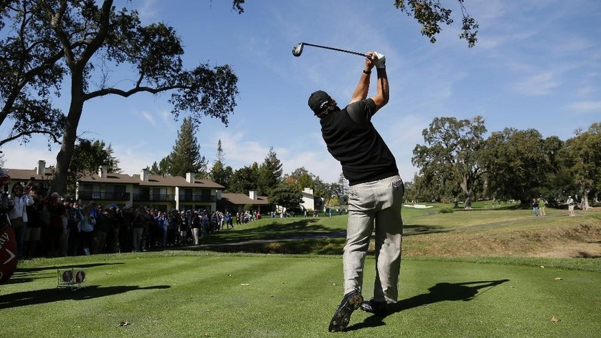 Phil Mickelson hits from the second tee of the Silverado Resort North Course during the pro-am event of the Safeway Open PGA golf tournament Wednesday, Oct. 12, 2016, in Napa, Calif. (AP Photo/Eric Risberg)