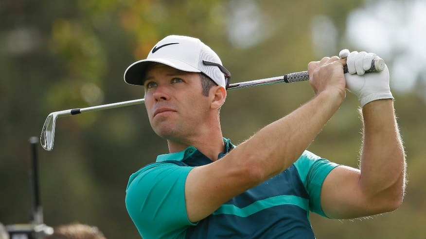 Paul Casey, of England, follows his shot from the second tee of the Silverado Resort North Course during the first round of the Safeway Open PGA golf tournament Thursday, Oct. 13, 2016, in Napa, Calif. (AP Photo/Eric Risberg)