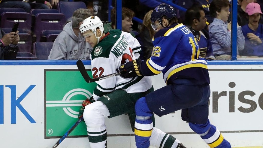 St. Louis Blues's Jori Lehtera, of Finland, and Minnesota Wild's Nino Niederreiter, of Switzerland, (22) chase after the puck along the boards during the second period of an NHL hockey game Thursday, Oct. 13, 2016, in St. Louis. (AP Photo/Jeff Roberson)
