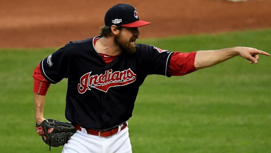 CLEVELAND, OH - OCTOBER 15: Andrew Miller #24 of the Cleveland Indians reacts in the seventh inning against the Toronto Blue Jays during game two of the American League Championship Series at Progressive Field on October 15, 2016 in Cleveland, Ohio. (Photo by Jason Miller/Getty Images)