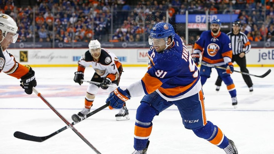 Anaheim Ducks defenseman Sami Vatanen (45) of Finland stops a shot by New York Islanders center John Tavares (91) during the second period of an NHL hockey game, Sunday, Oct. 16, 2016, in New York. (AP Photo/Kathy Willens)