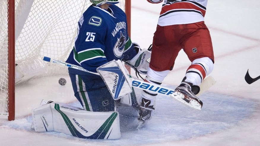 Carolina Hurricanes defenseman Justin Faulk (27) sends a shot past Vancouver Canucks goalie Jacob Markstrom (25) during the second period of an NHL hockey game in Vancouver, British Columbia, Sunday, Oct. 16, 2016. (Jonathan Hayward/The Canadian Press via AP)