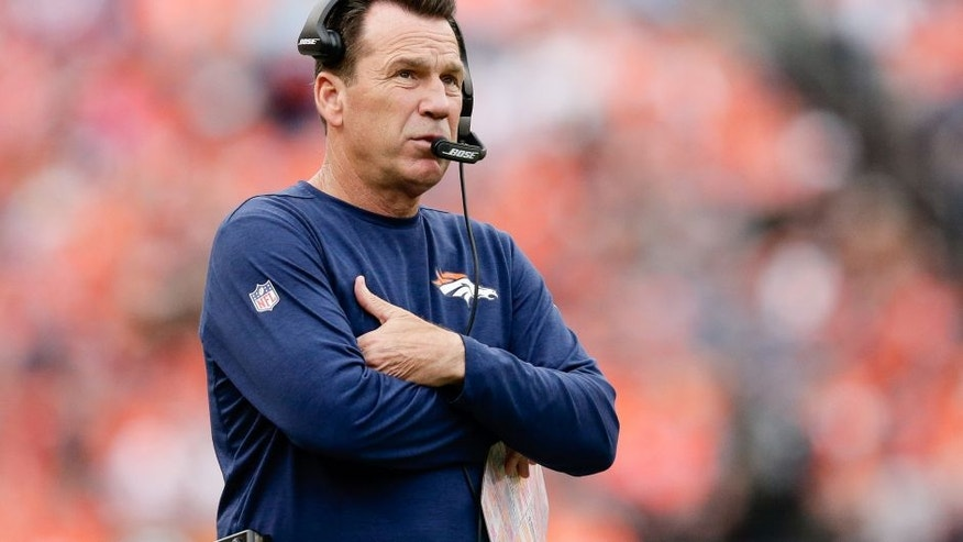 Oct 9, 2016; Denver, CO, USA; Denver Broncos head coach Gary Kubiak looks on in the fourth quarter against the Atlanta Falcons at Sports Authority Field at Mile High. The Falcons won 23-16. Mandatory Credit: Isaiah J. Downing-USA TODAY Sports