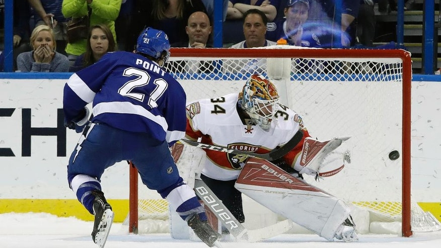 Tampa Bay Lightning center Brayden Point (21) beats Florida Panthers goalie James Reimer (34) to score a goal during the shootout in an NHL hockey game Tuesday, Oct. 18, 2016, in Tampa, Fla. (AP Photo/Chris O'Meara)