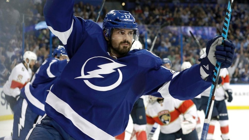 Tampa Bay Lightning left wing Alex Killorn (17) celebrates after scoring against the Florida Panthers during the second period of an NHL hockey game Tuesday, Oct. 18, 2016, in Tampa, Fla. (AP Photo/Chris O'Meara)