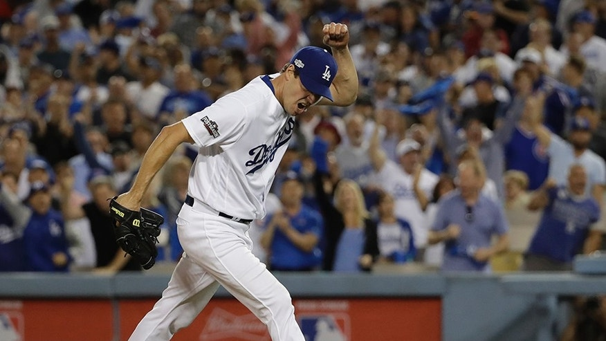 Oct. 18, 2016: Los Angeles Dodgers starting pitcher Rich Hill reacts after striking out Chicago Cubs' Anthony Rizzo during the sixth inning of Game 3 of the National League baseball championship series in Los Angeles