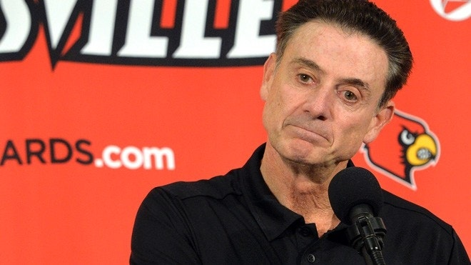 """FILE - In this Oct. 3, 2015, file photo, Louisville head coach Rick Pitino responds to a question following an NCAA college basketball team's intrasquad scrimmage in Louisville, Ky. Escort Katina Powell says she has no proof that Louisville coach Rick Pitino knew that a former Cardinals staffer hired her and other dancers to strip and have sex with former recruits and players. But Powell said Tuesday, Oct. 20, 2015, on ABC's """"Good Morning America"""" that with """"a boatload"""" of recruits and dancers, """"loud music, alcohol, security, cameras"""" in a campus dormitory and others aware of the shows, """"how could he not know?""""(AP Photo/Timothy D. Easley)"""