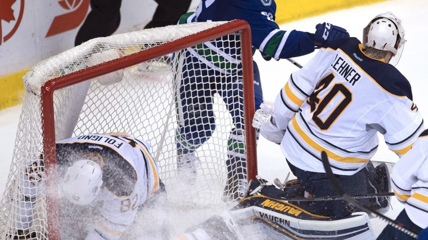 Buffalo Sabres left wing Marcus Foligno (82) crashes into his team's net during the third period of an NHL hockey game against the Vancouver Canucks on Thursday, Oct. 20, 2016, in Vancouver, British Columbia. (Jonathan Hayward/The Canadian Press via AP)