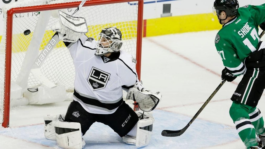 Dallas Stars center Devin Shore (17) looks on as Los Angeles Kings goalie Peter Budaj (31) allows a goal by Stars center Jason Spezza, not shown, during the third period of an NHL hockey game Thursday, Oct. 20, 2016, in Dallas. (AP Photo/LM Otero)