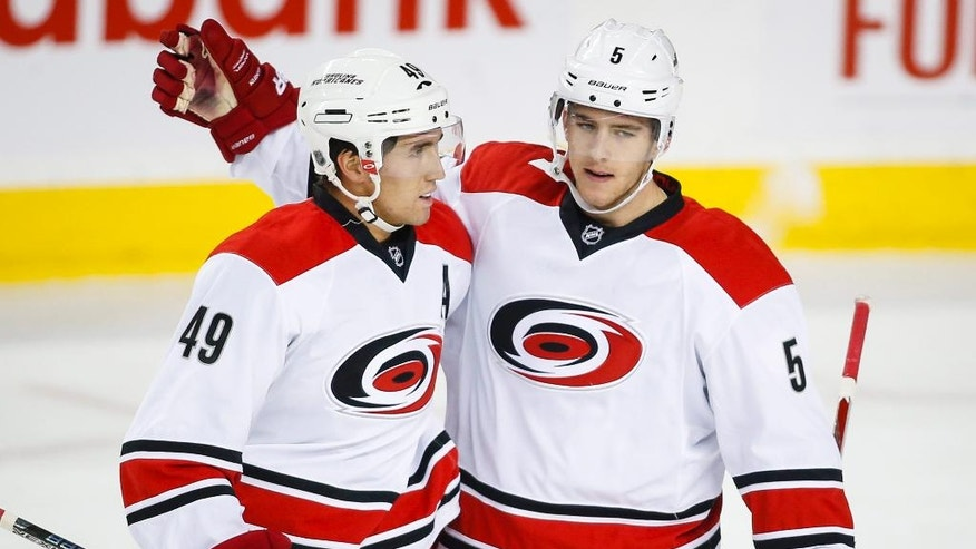 Carolina Hurricanes' Victor Rask, left, from Sweden, celebrates his goal with teammate Noah Hanifin during the first period of an NHL hockey game against the Calgary Flames, Thursday, Oct. 20, 2016 in Calgary, Alberta. (Jeff McIntosh/The Canadian Press via AP)