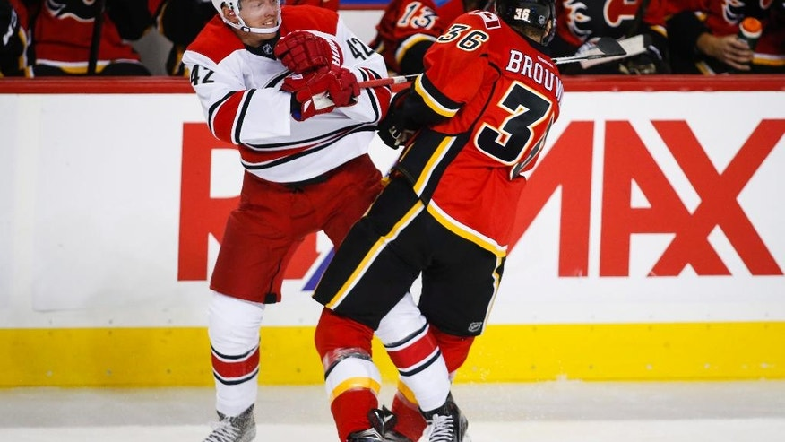 Carolina Hurricanes' Joakim Nordstrom, left, from Sweden, collides with Calgary Flames' Troy Brouwer, during the first period of an NHL hockey game, Thursday, Oct. 20, 2016 in Calgary, Alberta. (Jeff McIntosh/The Canadian Press via AP)